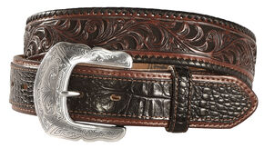 Tony Lama Tooled Caiman Print Leather Belt - Reg & Big, Black, hi-res