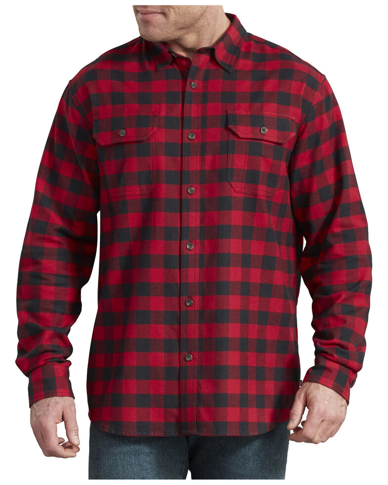 Dickies Men's Flex Flannel Long Sleeve Stretch Work Shirt - Big , Red, hi-res