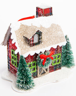 BB Ranch LED Plaid House Ornament, Red, hi-res