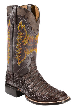Lucchese Handmade 1883 Men's Rhys Hornback Caiman Cowboy Boots - Square Toe, Barrel Brn, hi-res