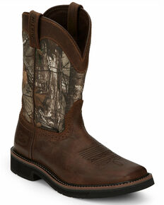 Justin Men's Trekker Waterproof Western Work Boots - Soft Toe, Brown, hi-res