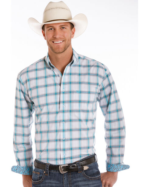 Panhandle Men's White/Turquoise Plaid Long Sleeve Button Down Shirt, White, hi-res