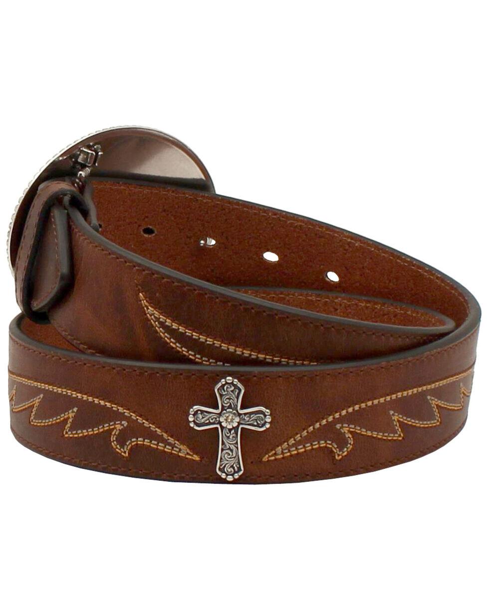 Ariat Cross Buckle Western Belt, Brown, hi-res