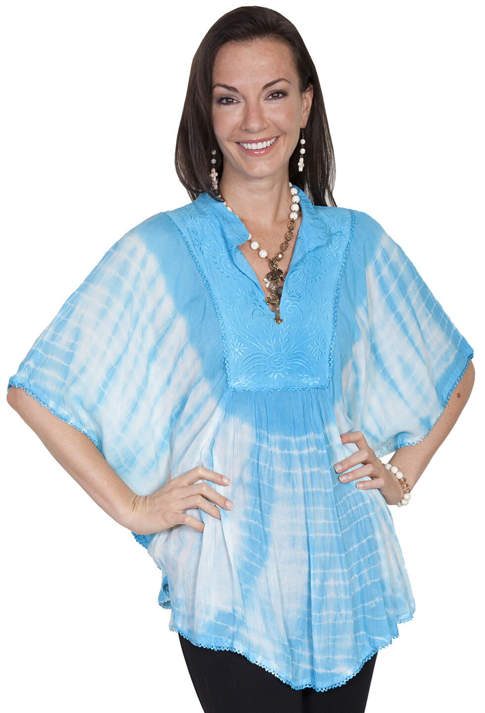 Scully Women's Tie-Dye Poncho Blouse, Turquoise, hi-res