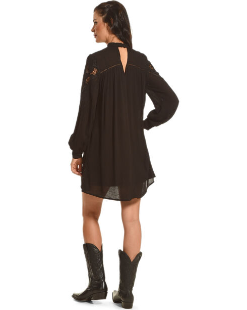 HYFVE Women's Lace Keyhole Long Sleeve Dress, Black, hi-res