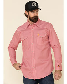 Wrangler 20X FR Men's Red Small Geo Print Long Sleeve Work Shirt - Tall , Red, hi-res