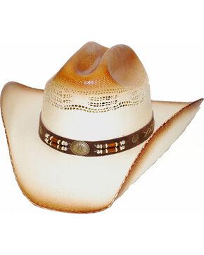 Western Express Timber Lake Concho & Bead Straw Cowboy Hat, Tan, hi-res