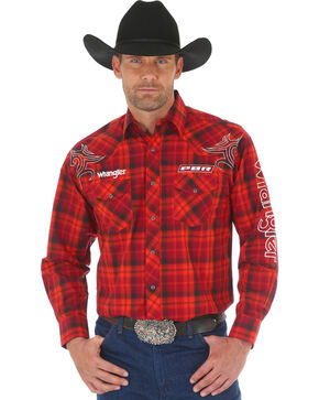 Wrangler Men's Red PBR Logo Shirt , Red, hi-res