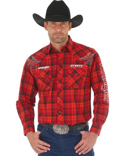 Wrangler Men's Red PBR Logo Shirt , Red, hi-res