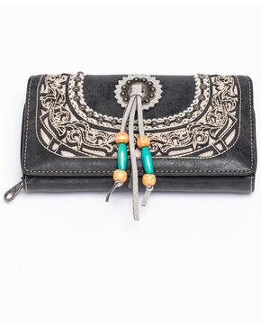 Shyanne Women's Concho Wood Beaded Tassel Wallet, Black, hi-res