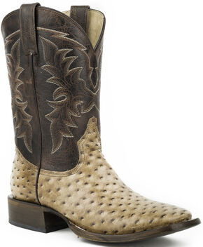 Roper Honey Brown Ostrich Print Cowboy Boots - Square Toe , Brown, hi-res