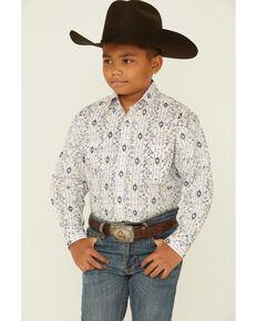 Rough Stock By Panhandle Boys' Cream Aztec Paisley Print Long Sleeve Snap Western Shirt , Cream, hi-res