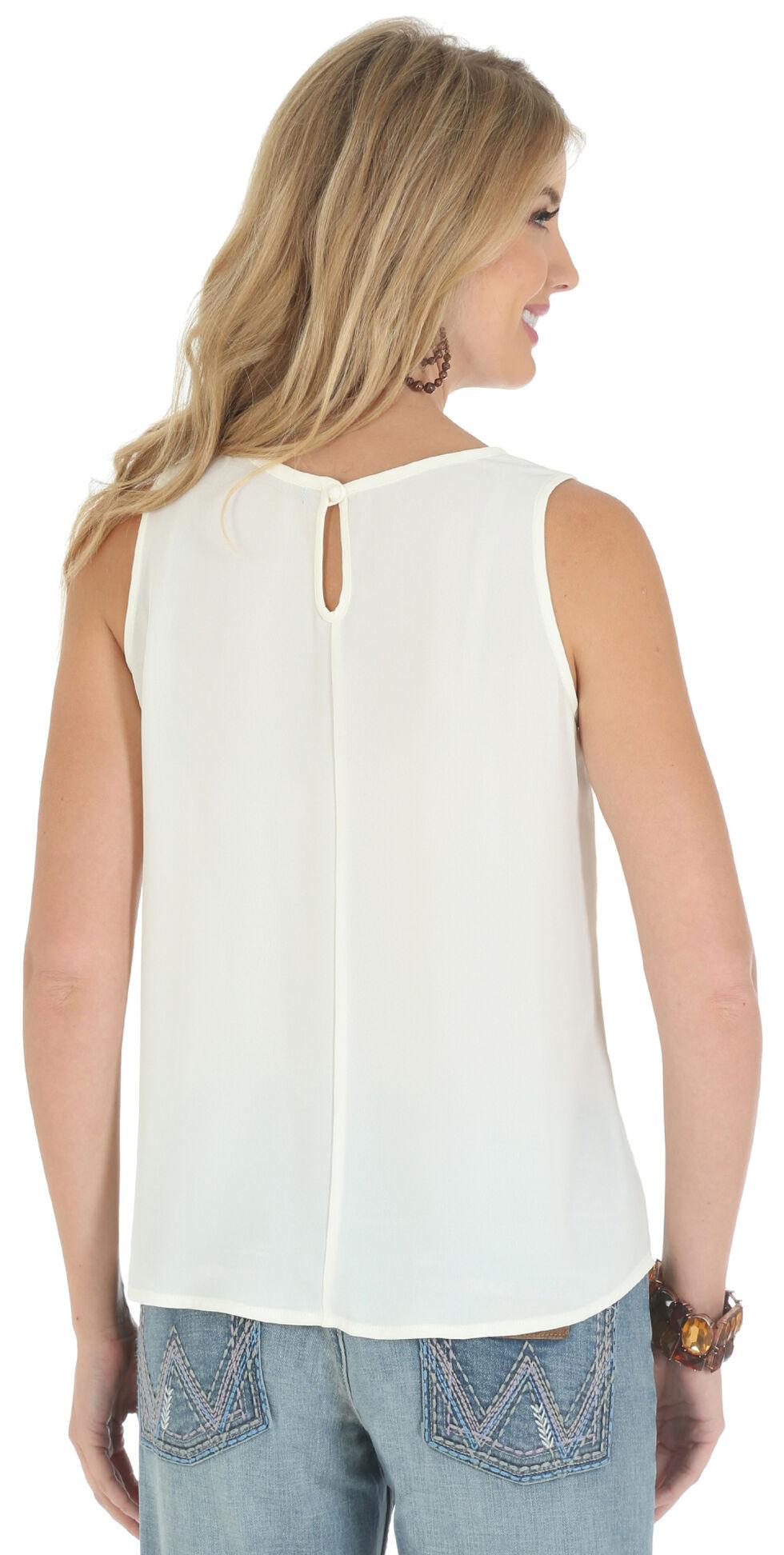 Wrangler Women's Sleeveless Embroidered Tape Shirt, Vanilla, hi-res