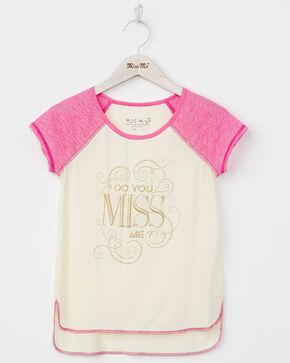 Miss Me Girls' Do You Miss Me Raglan Top, Pink, hi-res