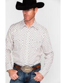 Rock & Roll Denim Men's Crinkle Washed Poplin Print Long Sleeve Western Shirt , Cream, hi-res
