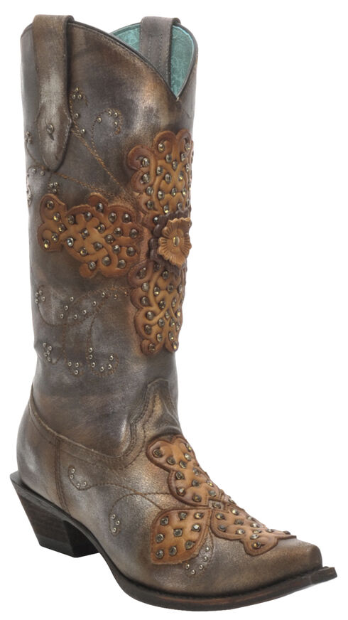 Corral Women's Crystal Embroidered Boots -  Snip Toe , Silver, hi-res