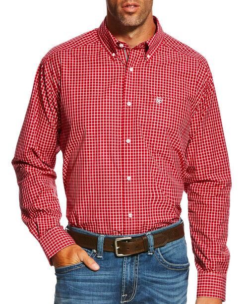 Ariat Men's Pro Series Gabriel Plaid Long Sleeve Button Down Shirt , Red, hi-res