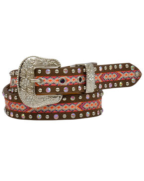 Angel Ranch Girls' Woven Fabric Inlay Embellished Buckle Belt, Tan, hi-res