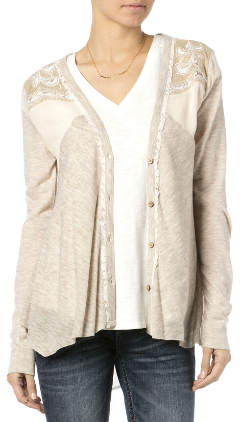 Miss Me Women's Paisley Pleat Cardigan, Taupe, hi-res