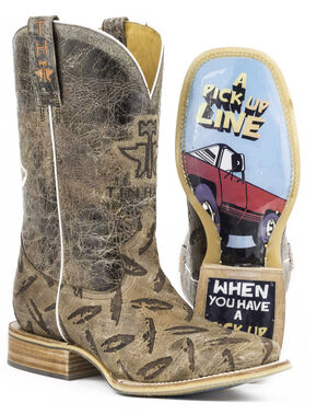 Tin Haul Men's Diamond Plate Pick Up Line Cowboy Boots - Square Toe, Tan, hi-res