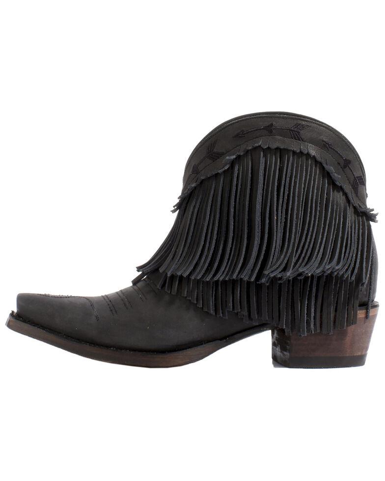 Junk Gypsy by Lane Women's Spitfire Mustard Fringe Booties - Snip Toe, Black, hi-res