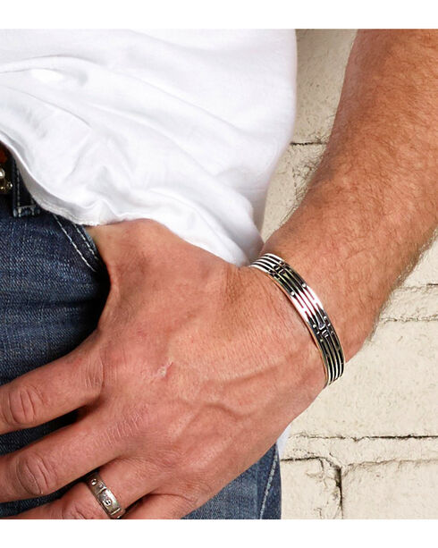Montana Silversmiths Mirrored Horseshoe Nail Cuff Bracelet , Silver, hi-res