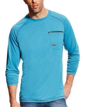 Ariat Men's Rebar Sunstopper Long Sleeve Tee, Teal, hi-res