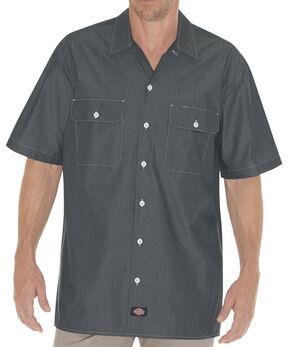 Dickies Relaxed Fit Chambray Short Sleeve Shirt - Big & Tall, Navy, hi-res