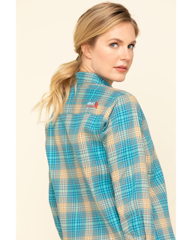 Ariat Women's Savana Plaid FR Long Sleeve Work Shirt, Blue, hi-res