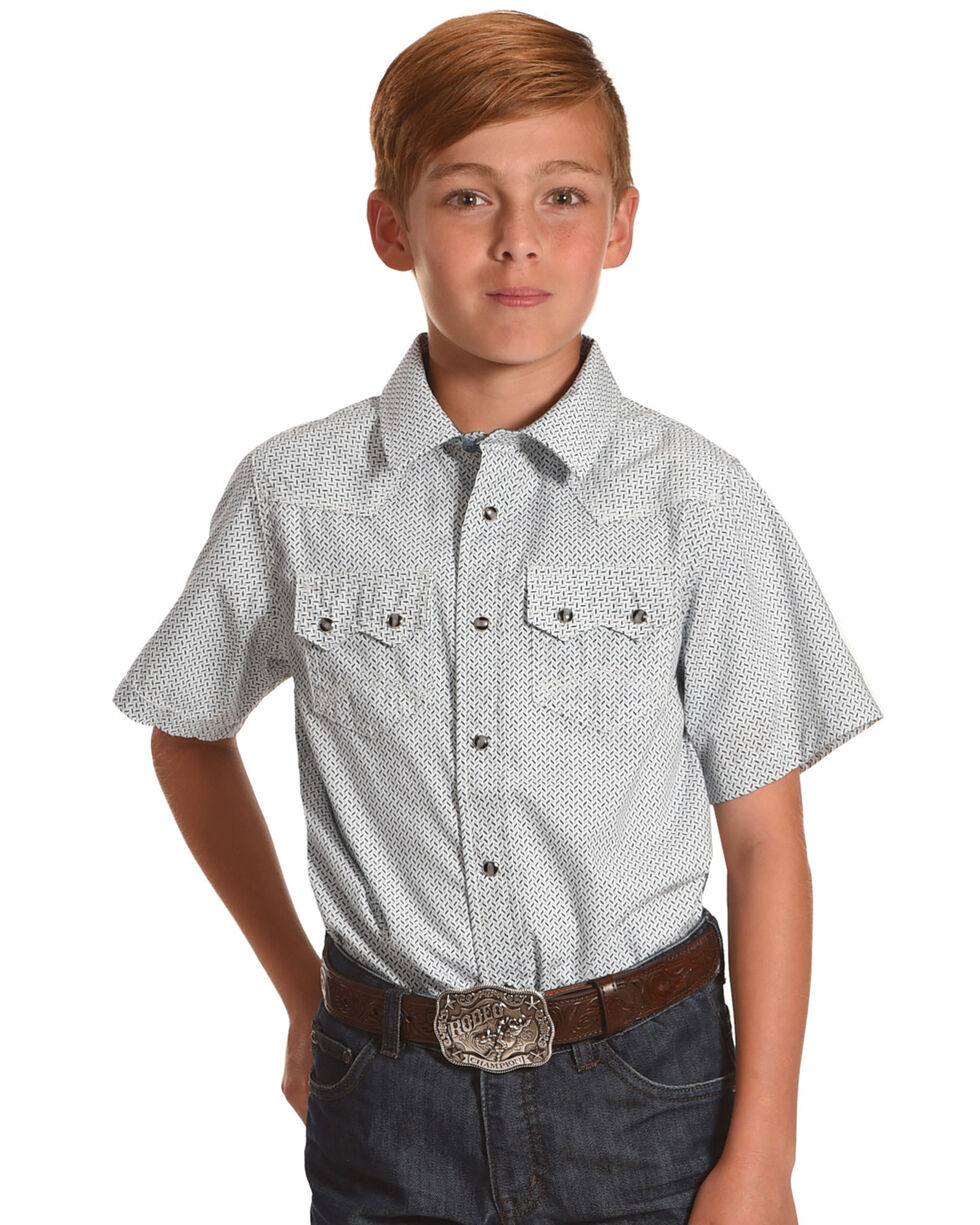 Cody James Boys' Atlas Short Sleeve Shirt, Blue, hi-res