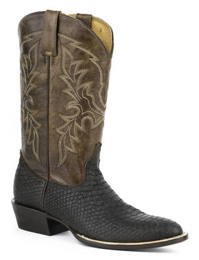 Roper Python Print Cowboy Boots - Round Toe, Brown, hi-res