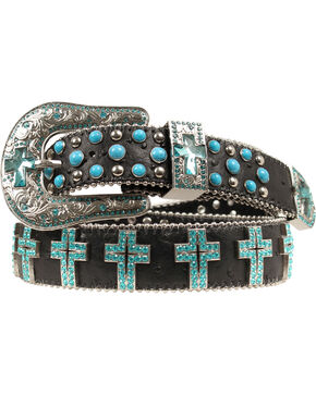 Blazin Roxx Turquoise Cross Concho Belt, Black, hi-res
