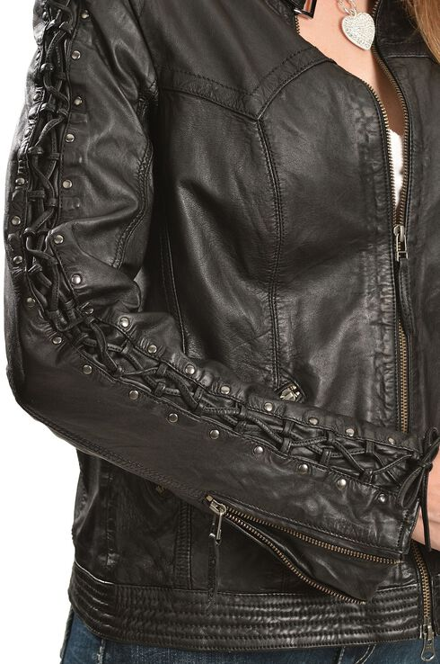 Scully Leather Laced Sleeve Jacket, Black, hi-res