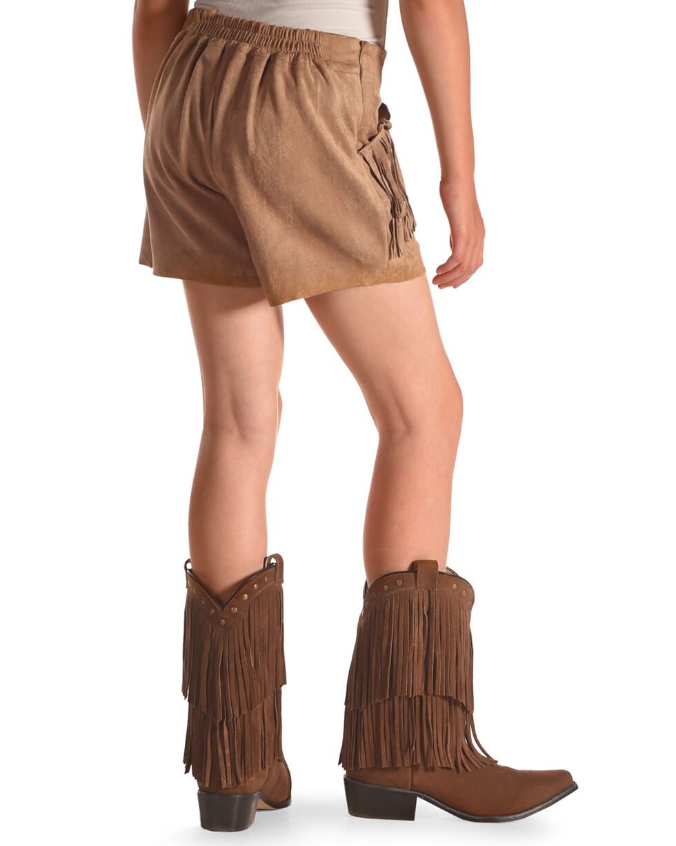 Idol Mind Girls' Brown Faux Suede Fringed Shorts , Brown, hi-res