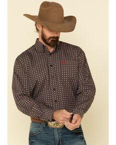 Cinch Men's Black Geo Print Plain Weave Long Sleeve Western Shirt , Black, hi-res