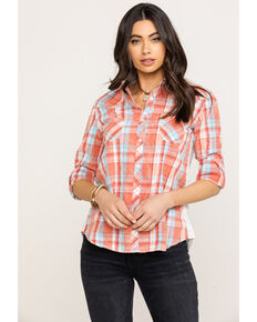 687550f0 White Label by Panhandle Womens Plaid Button Down Lace Back Long Sleeve  Top, Coral,