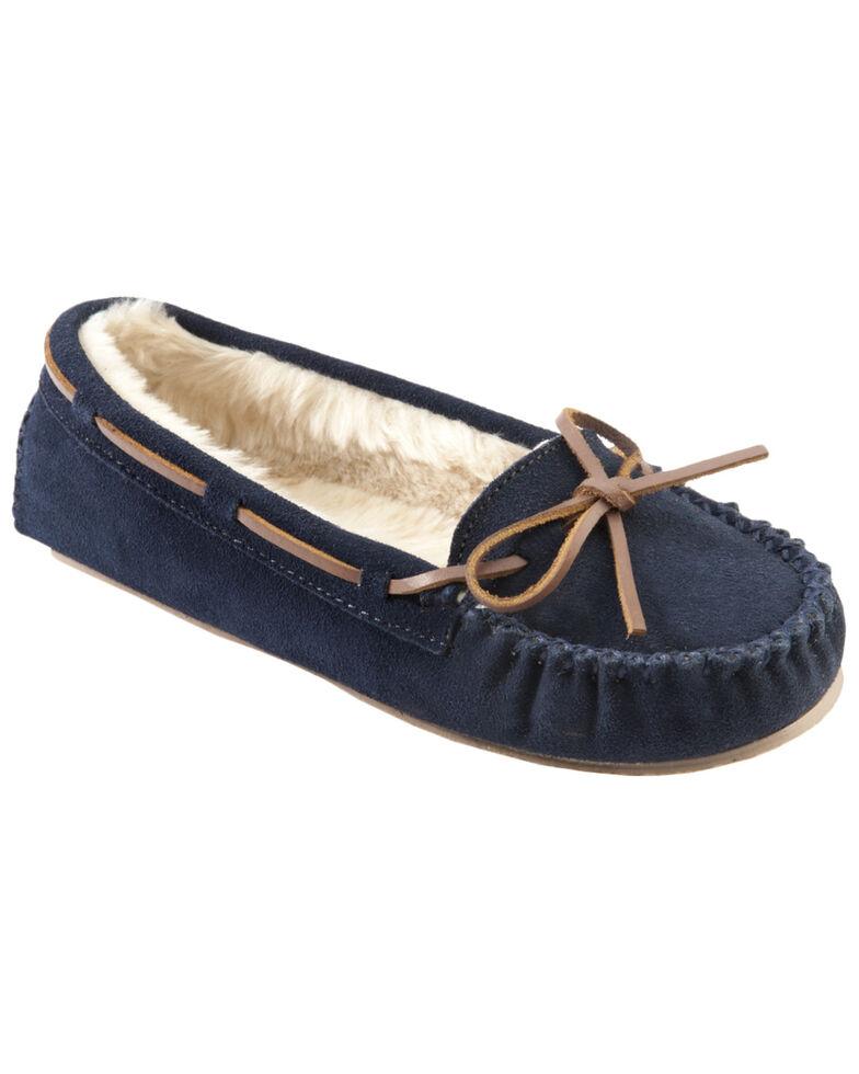 Minnetonka Cally Lined Slipper Moccasins, Navy, hi-res