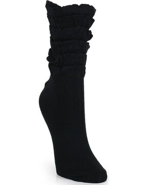 K. Bell Women's Black Mini Ruffles Crew Socks , Black, hi-res