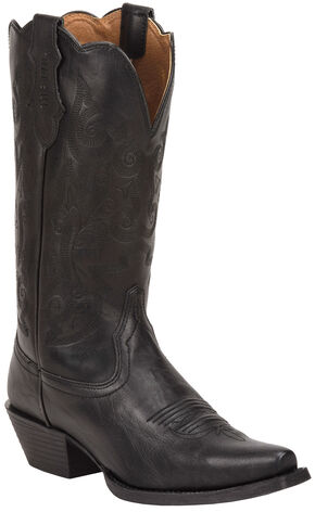 Justin Panther Black Farm & Ranch Cowgirl Boots - Snip Toe , Black, hi-res