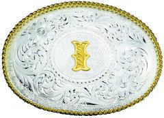 Montana Silversmiths Engraved Initial I Western Belt Buckle, Multi, hi-res