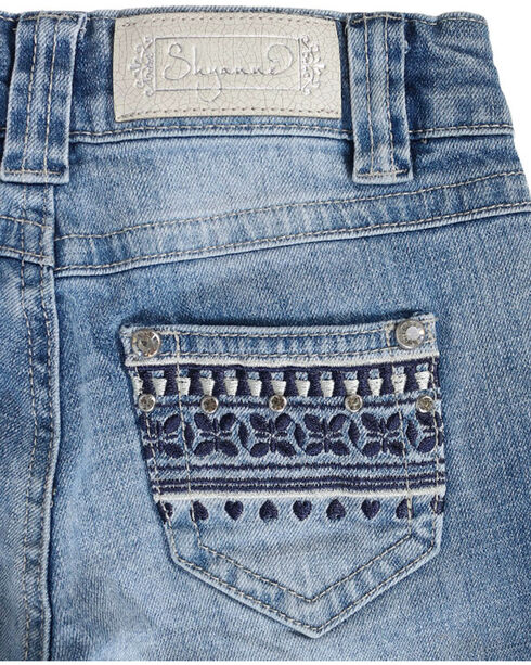 Shyanne Girls' Tapestry Embroidered Low Rise Jeans - Boot Cut, Blue, hi-res