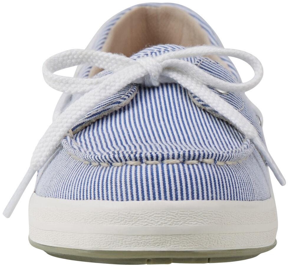 Eastland Women's Blue Stripe Canvas Skip Boat Shoe Slip-Ons , , hi-res