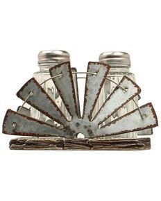 M&F Western Salt & Pepper Mill Fan Holder Shaker Set - 3 Piece, Silver, hi-res