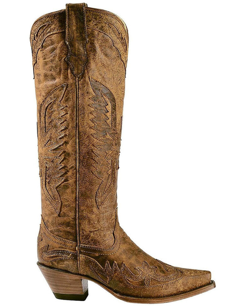 17180bd395d Corral Vintage Brown Eagle Overlay Tall Cowgirl Boots - Snip Toe