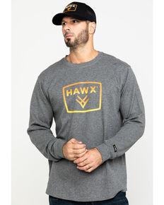 Hawx Men's Grey Box Logo Graphic Thermal Long Sleeve Work Shirt , Charcoal, hi-res