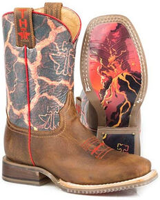 Tin Haul Youth Girls' Volcanic Western Boots - Square Toe, Brown, hi-res