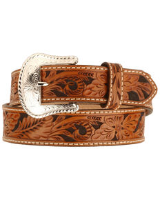 Tony Lama Floral Tooled Leather Belt - Reg & Big, Tan, hi-res