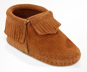 Minnetonka Infant Girls' Riley Moccasin Booties, Brown, hi-res
