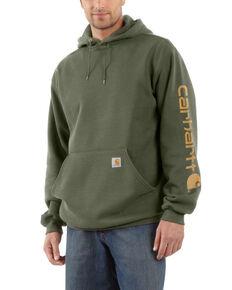 Carhartt Men's Winter Moss Midweight Signature Sleeve Hooded Work Sweatshirt , Moss Green, hi-res