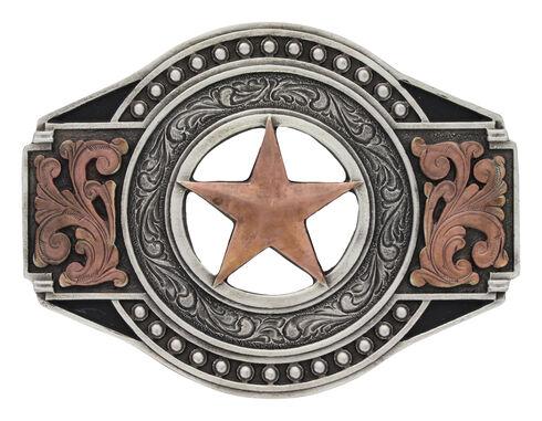 Two Tone Open Texas Ranger Star Attitude Buckle, Silver, hi-res